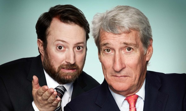 Undated handout photo issued by Channel 4 of David Mitchell and veteran BBC interrogator Jeremy Paxman who will be hosting Channel 4's Alternative Election Night